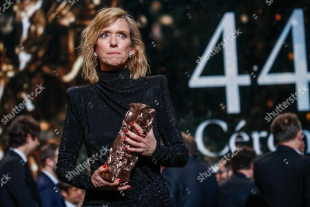 Lea Drucker receives the Best Actress award for her performance in 'Jusqu'a la Garde' during the 44th annual Cesar awards ceremony held at the Salle Pleyel concert hall in Paris, France, 22 February 2019.