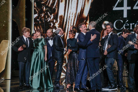 Guest of Honor, US actor and director Robert Redford (L) honorory awarded for his career, Mistress of Ceremony Kristin Scott Thomas (2-L) on stage with the others awarded people during the 44th annual Cesar awards ceremony held at the Salle Pleyel concert hall in Paris, France, 22 February 2019.