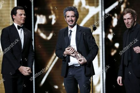 Jean-Bernard Marlin (C) receives the Best First Movie award for his movie 'Sheherazade' during the 44th annual Cesar awards ceremony held at the Salle Pleyel concert hall in Paris, France, 22 February 2019.