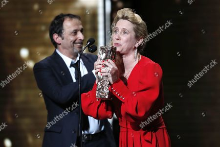 Eric Metayer and Andrea Bescond receive the Best Adaptation award for the movie 'Les Chatouilles' during the 44th annual Cesar awards ceremony held at the Salle Pleyel concert hall in Paris, France, 22 February 2019.