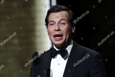 Laurent Lafitte wearing special make-up speaks during the 44th annual Cesar awards ceremony held at the Salle Pleyel concert hall in Paris, France, 22 February 2019.