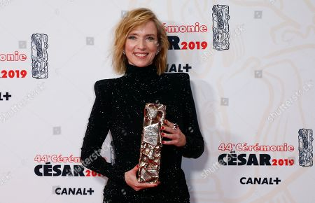 Lea Drucker poses with the Best actress award for 'Jusqu'a la garde' during the 44th annual Cesar awards ceremony held at the Salle Pleyel concert venue in Paris, France, 22 February 2019.