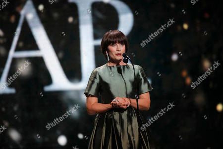 Actress Kristin Scott Thomas speaks to the audience during the 44th Cesar Film Awards ceremony, in Paris