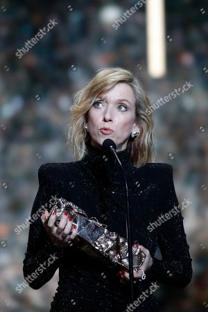 Actress Lea Drucker receives her Cesar best actress award for the film 'Custody during the 44th Cesar Film Awards ceremony, in Paris