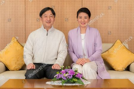 Naruhito, Masako. In this Feb. 17, 2019, photo provided by the Imperial Household Agency of Japan, Japan's Crown Prince Naruhito and Crown Princess Masako pose for a photo at their residence Togu Palace in Tokyo. Naruhito celebrates his 59th birthday on