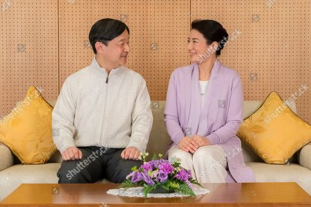 Naruhito, Masako. In this Feb. 17, 2019 photo provided by the Imperial Household Agency of Japan, Japan's Crown Prince Naruhito and Crown Princess Masako speak at their residence Togu Palace in Tokyo. Naruhito celebrates his 59th birthday on