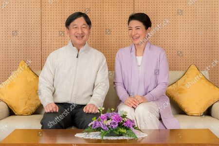 Naruhito, Masako. In this Feb. 17, 2019, photo provided by the Imperial Household Agency of Japan, Japan's Crown Prince Naruhito and Crown Princess Masako pose at their residence Togu Palace in Tokyo. Naruhito celebrates his 59th birthday on