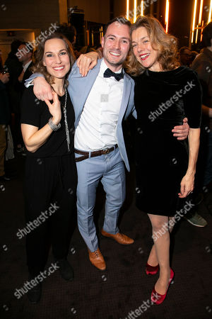 Stock Picture of Joanna Riding (Sally Durant Plummer), Alex Parker and Janie Dee (Phyllis Rogers Stone)