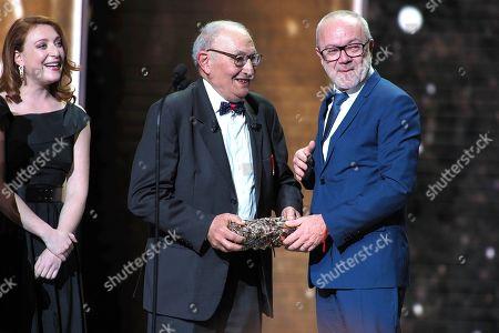"Olivier Baroux receives a Cesar Award for the film ""Les Tuhces 3"" for Best Entrance on cinema"