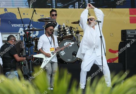 Singer Miguel Bose performs during the Aid Live concert, funded by British billionaire Richard Branson, at the Tienditas border bridge in Cucuta, Colombia, 22 February 2019.