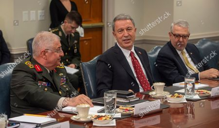 Acting U.S. Defense Secretary Patrick Shanahan and U.S. Chairman of the Joint Chiefs General Joseph Dunford meet with Turkish Minister of Defense Hulusi Akar and General Yaser Güler, chief of the Turkish General Staff at the Pentagon