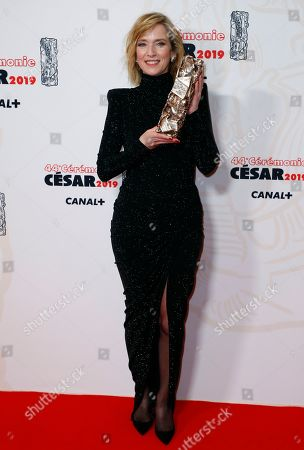 Stock Photo of Lea Drucker poses with the Best actress award for 'Jusqu'a la garde' during the 44th annual Cesar awards ceremony held at the Salle Pleyel concert venue in Paris, France, 22 February 2019.
