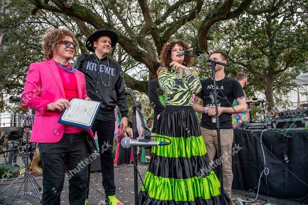 Ben Jaffe, Win Butler. Ben Jaffe, of Preservation Jazz Band, left, and Win Butler, of Arcade Fire, center, seen at the 2019 Krewe du Kanaval Parade, in New Orleans