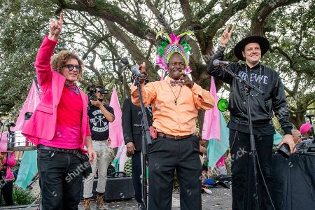 Ben Jaffe, DJ Jubilee, Win Butler. Ben Jaffe of Preservation Hall Jazz Band, from left, DJ Jubilee, and Win Butler of Arcade Fire seen at the 2019 Krewe du Kanaval Parade, in New Orleans