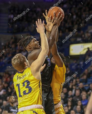 Buffalo Bulls forward Nick Perkins (33) scored a career high 27 against Kent State Golden Flashes and guard Mitch Peterson (13) during the NCAA Basketball game between the Kent State Golden Flashes and Buffalo Bulls at Alumni Arena in Amherst, N.Y. (Nicholas T