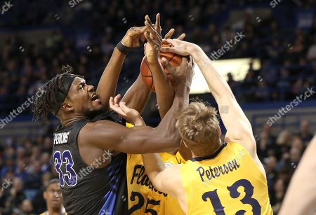 Buffalo Bulls forward Nick Perkins (33) battles for a arebound with Kent State Golden Flashes guard Mitch Peterson (13) during the first half of play in the NCAA Basketball game between the Kent State Golden Flashes and Buffalo Bulls at Alumni Arena in Amherst, N.Y. (Nicholas T