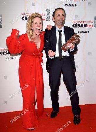 Director Andrea Bescond and Eric Metayer, winners of the award for Best Adaptation for Les Chatouilles