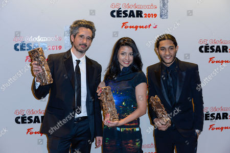 Stock Image of Jean-Bernard Marlin, winner of the award for Best First Movie Dylan Robert and Kenza Fortas winners of the award for Best male and female Newcomers for Sheherazade and guest
