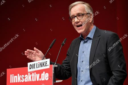 Co-leader of Germany's The Left (DIE LINKE) party faction Dietmar Bartsch delivers a speech at the federal party meeting of the German DIE LINKE (The Left) party at the World Conference Center in Bonn, Germany, 23 February 2019. The Left party will hold a three-day party convention from 22 February to adopt the European election program and establish for the European elections in May 2019.