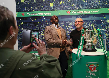 A Carabao Cup Final pop up, near Leicester Square, involving former players for both Chelsea and Manchester City, Jimmy Floyd Hasselbaink and Paul Dickov