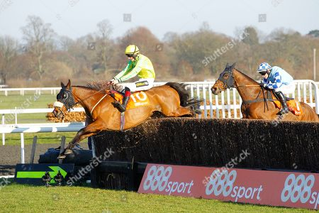 Stock Picture of Walt and Sam Twiston-Davies jump the last to win the 888Sport Handicap Chase at Kempton from Double Shuffle for trainer Neil Mulholland.