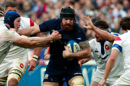 Josh Strauss (C) of Scotland in action during the Six Nations rugby match between France and Scotland in Saint Denis, near Paris, France, 23 February 2019.