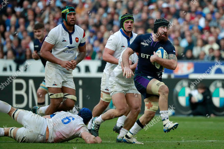 Josh Strauss (R) of Scotland  in action during the Six Nations rugby match between France and Scotland in Saint Denis, near Paris, France, 23 February 2019.