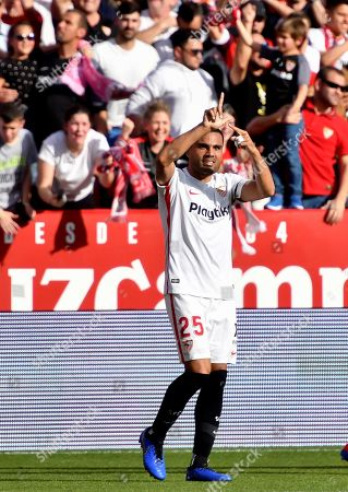 Sevilla FC's Gabriel Mercado celebrates after scoring the 2-1 goal during the Spanish LaLiga soccer match played between Sevilla FC and FC Barcelona at the Sanchez Pizjuan stadium in Seville, Spain, 23 February 2019.