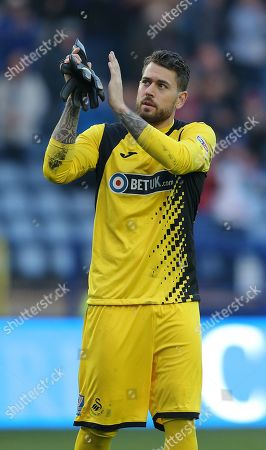 Goalkeeper Kristoffer Nordfeldt  of Swansea applauds the fans at the end of the game