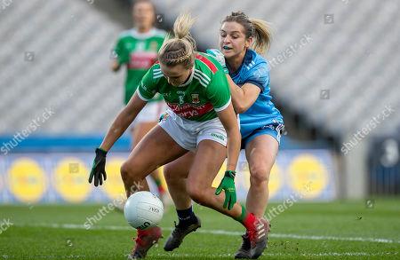 Dublin vs Mayo. Dublin's Martha Byrne with Fiona Doherty of Mayo