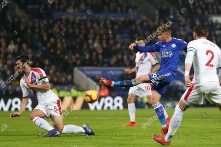 Harvey Barnes of Leicester City and James Tomkins of Crystal Palace during Leicester City vs Crystal Palace, Premier League Football at the King Power Stadium on 23rd February 2019