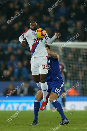 Stock Picture of Connor Wickham of Crystal Palace and Harry Maguire of Leicester City during Leicester City vs Crystal Palace, Premier League Football at the King Power Stadium on 23rd February 2019