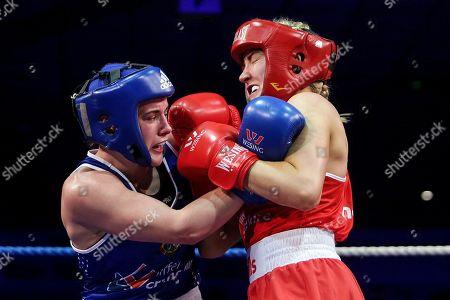 69kg ñ Women's Welterweight. Christina Desmond (red) vs Grainne Walsh (blue). Christina Desmond and Grainne Walsh