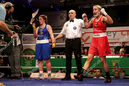 69kg ñ Women's Welterweight. Christina Desmond (red) vs Grainne Walsh (blue). Christina Desmond celebrates