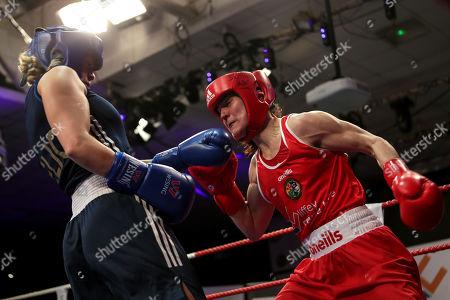 60kg ñ Women's Lightweight. Kelly Harrington (red) vs Jelena Jelic (blue). Kelly Harrington and Jelena Jelic