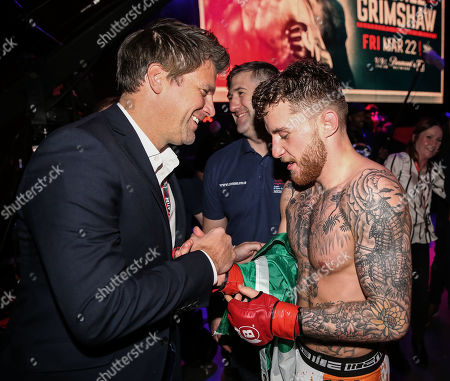 James Gallagher vs Steven Graham. James Gallagher celebrates his victory with David Green of Bellator