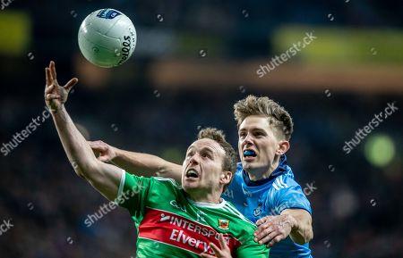 Dublin vs Mayo. Dublin's Michael Fitzsimons with Andy Moran of Mayo