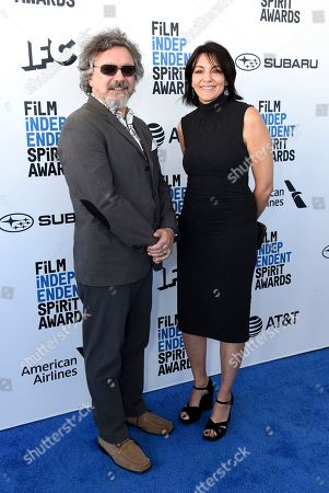 Stock Photo of Joe Bini, Lila Yacoub. Joe Bini, left, and Lila Yacoub arrive at the 34th Film Independent Spirit Awards, in Santa Monica, Calif