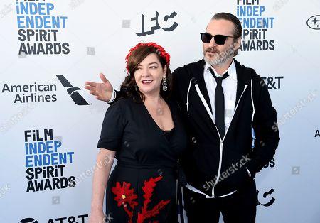 Lynne Ramsay, Joaquin Phoenix. Lynne Ramsay, left, and Joaquin Phoenix arrive at the 34th Film Independent Spirit Awards, in Santa Monica, Calif