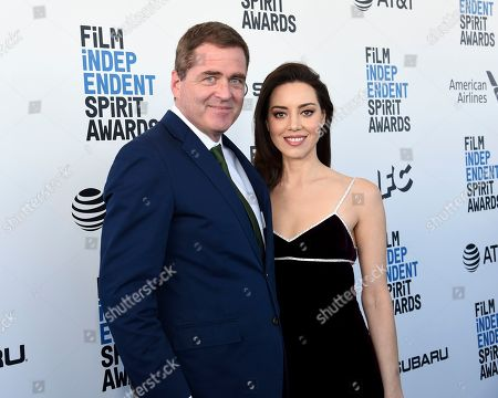 Stock Photo of Josh Welsh, Aubrey Plaza. Josh Welsh, left, and Aubrey Plaza arrive at the 34th Film Independent Spirit Awards, in Santa Monica, Calif