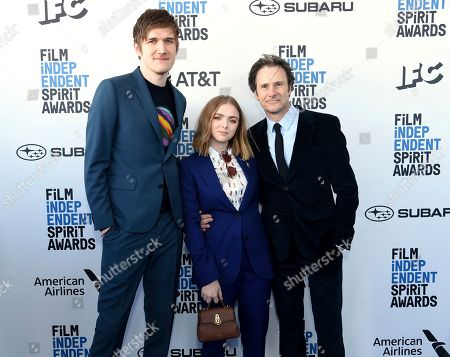 Bo Burnham, Elsie Fisher, Josh Hamilton. Bo Burnham, from left, Elsie Fisher, and Josh Hamilton arrive at the 34th Film Independent Spirit Awards, in Santa Monica, Calif
