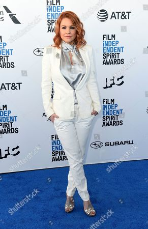 Carrie Keagan arrives at the 34th Film Independent Spirit Awards, in Santa Monica, Calif