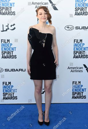 Kayli Carter arrives at the 34th Film Independent Spirit Awards, in Santa Monica, Calif