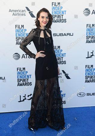 Quinn Shephard arrives at the 34th Film Independent Spirit Awards, in Santa Monica, Calif