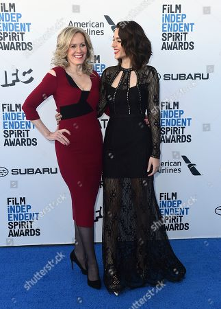 Laurie Shephard, Quinn Shephard. Laurie Shephard, left, and Quinn Shephard arrive at the 34th Film Independent Spirit Awards, in Santa Monica, Calif