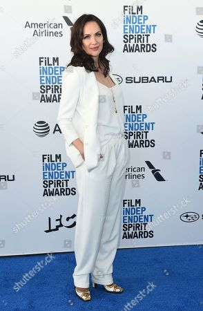 Kate Siegel arrives at the 34th Film Independent Spirit Awards, in Santa Monica, Calif