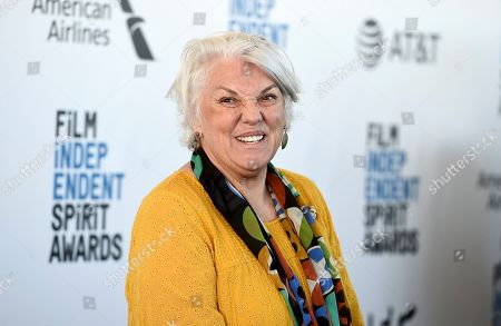 Tyne Daly arrives at the 34th Film Independent Spirit Awards, in Santa Monica, Calif