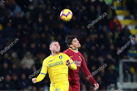 Stock Photo of Frosinone's Federico Viviani (L) and Roma's Diego Perotti in action during the Italian Serie A soccer match Frosinone Calcio vs AS Roma at the Benito Stirpe stadium in Frosinone, Italy, 23 February 2019.