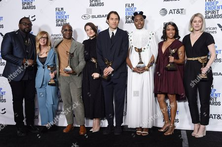 "Brian Tyree Henry, Dede Gardner, Barry Jenkins, Adele Romanski, Jeremy Kleiner, Kiki Layne, Regina King, Sara Murphy. Brian Tyree Henry, from left, Dede Gardner, Barry Jenkins, Adele Romanski, Jeremy Kleiner, Kiki Layne, Regina King, and Sara Murphy pose in the press room with their awards for best feature for ""If Beale Street Could Talk"" at the 34th Film Independent Spirit Awards, in Santa Monica, Calif"