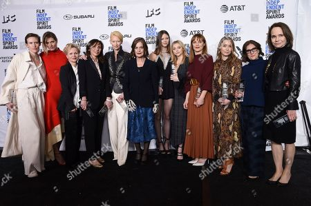 "Gala Moody, Malgorzata Bela, Renee Soutendijk, Stella Savino, Tilda Swinton, Angela Winkler, Mia Goth, Chloe Grace Moretz, Fabrizia Sacchi, Elena Fokina, Avy Kaufman, Jessica Harper. Gala Moody, from left, Malgorzata Bela, Renee Soutendijk, Stella Savino, Tilda Swinton, Angela Winkler, Mia Goth, Chloe Grace Moretz, Fabrizia Sacchi, Elena Fokina, Avy Kaufman, Jessica Harper pose in the press room with the Robert Altman award for ""Suspiria"" at the 34th Film Independent Spirit Awards, in Santa Monica, Calif"